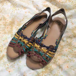 """Colorful Faux Leather Sandals Sz 9 1"""" Wedge"""